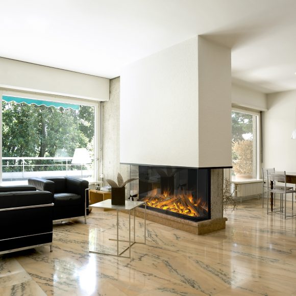 Evonic electric fire lighting in modern home