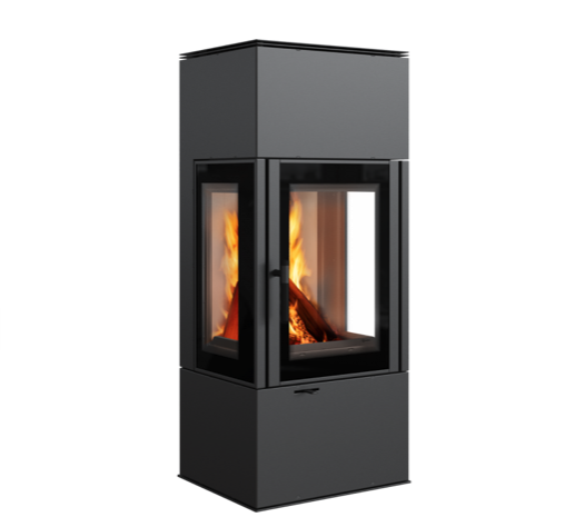 modern 3 sided glass stove fire lighting