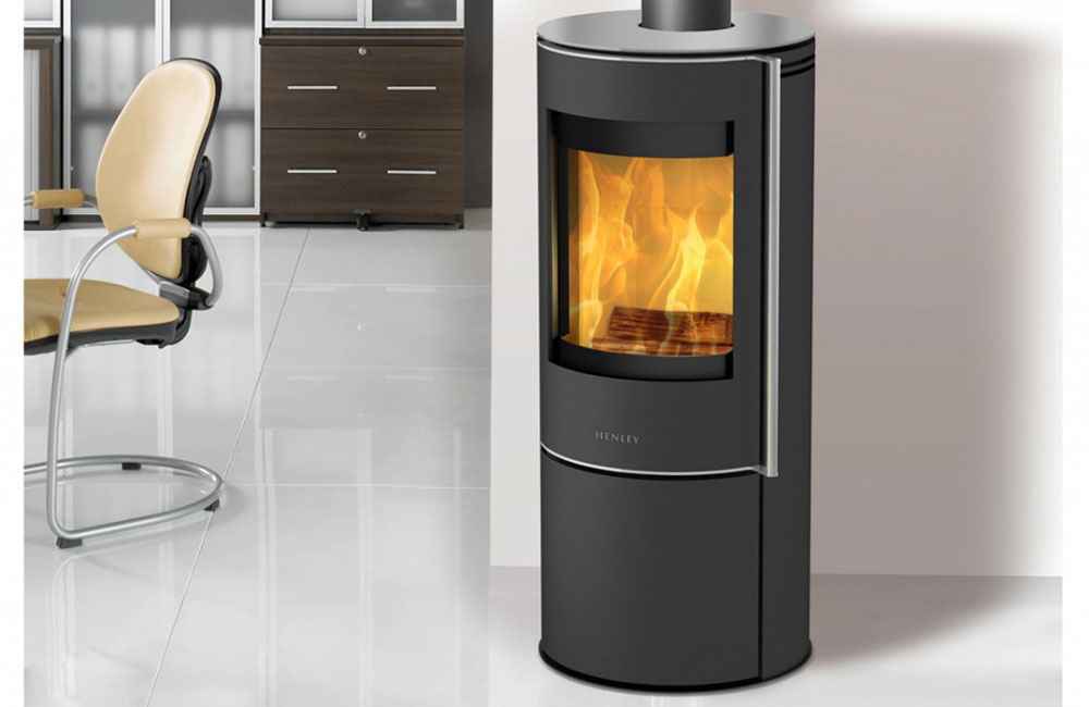 wood burner modern stove with fire