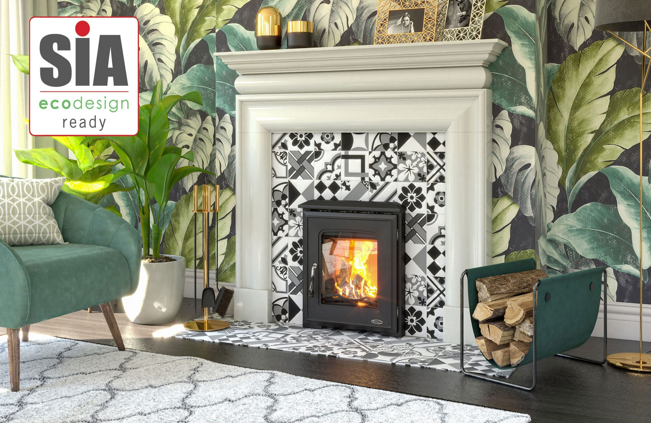 insert stove in fireplace with plants