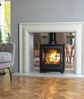 lwarge open living room with double sided stove