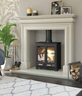 stove in fireplace with plant wood burning double door henley