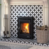 Henley Muckross Insert Stove Enamel Black finish in fireplace