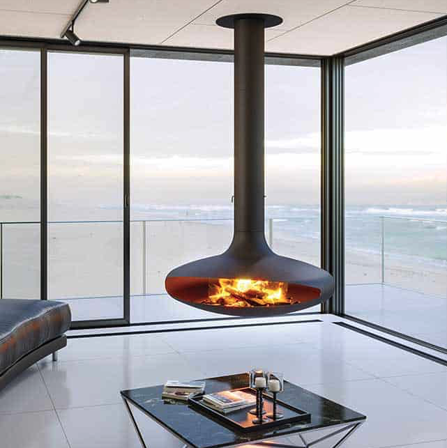 stove hanging from ceiling with sea view