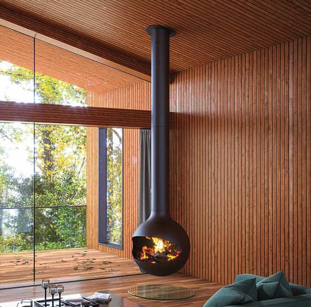 forest view stove hanging from ceiling flames