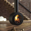 modern interior design with stove hanging from ceiling