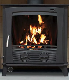 Multifuel Stove Boiler matt black with fire lighting