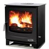 woodburnng boiler stove matt black with fire lighting