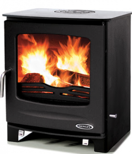 woodburnng boiler stove matt black with fire lighting
