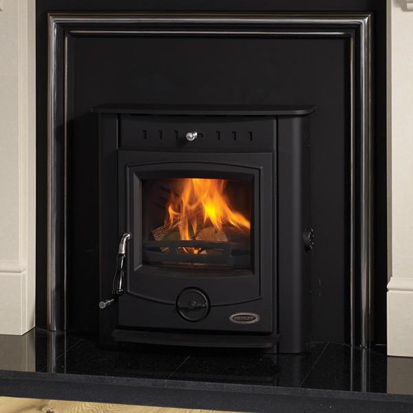 multifuel insert boiler lighting in cream fireplace