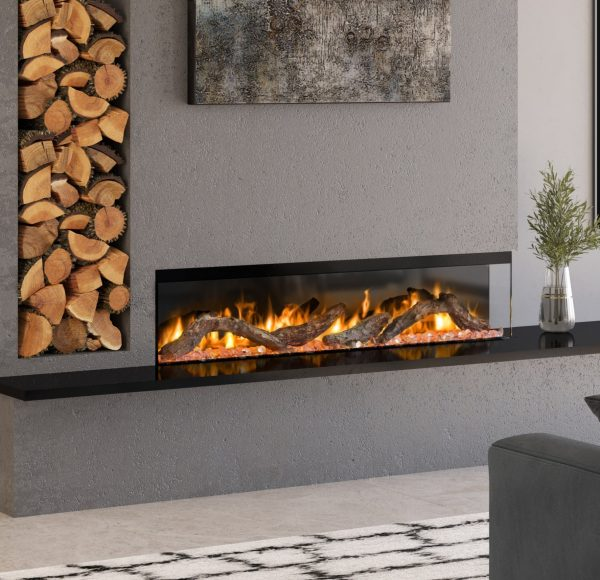 electric fire next to logs in modern interior
