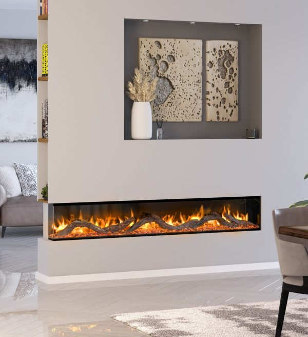 landscape electric fire on a feature wall with side glass