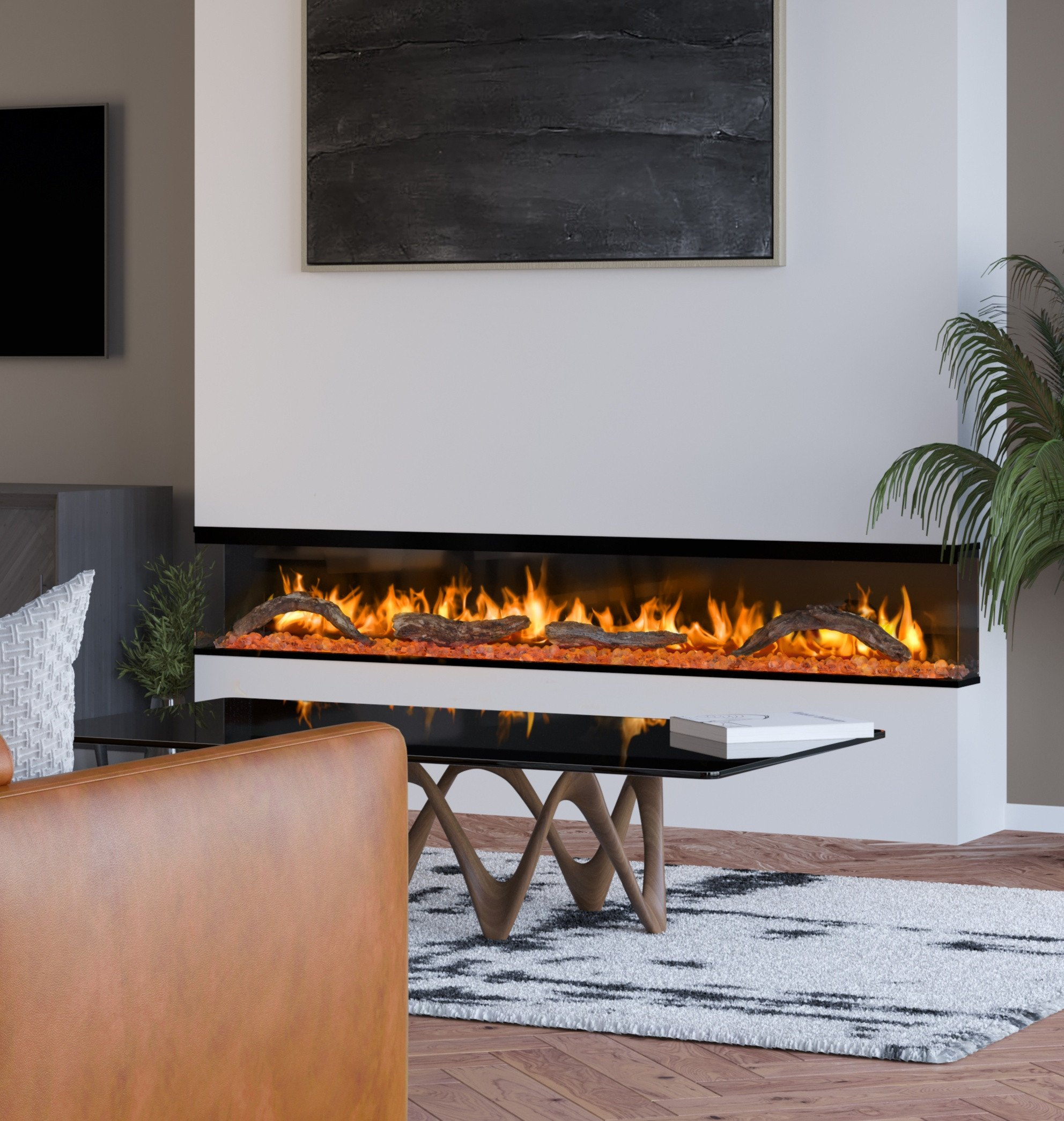 TV & electric fire feature wall with wide fire