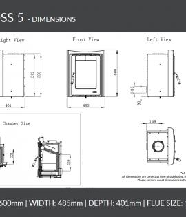 Henley Muckross 4.6kW Insert dimensions