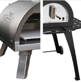 two different views of outdoor pizza oven
