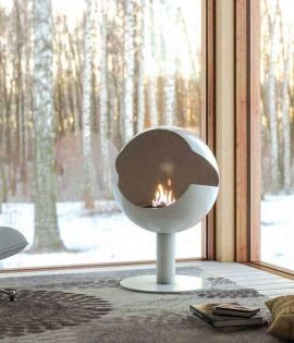 cylinder shaped bio fire in corner with view outside