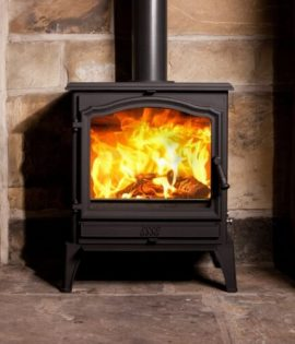stove in fireplace
