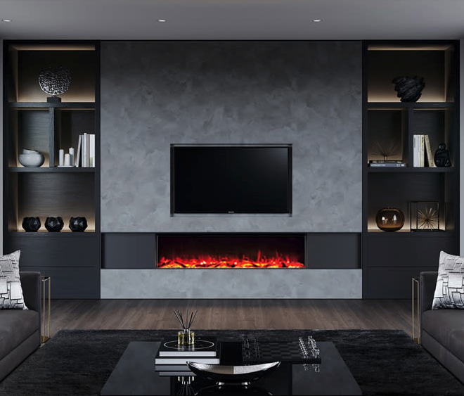 feature wall electric fire wide with TV over and shelving