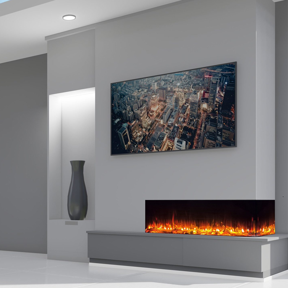 electric fire in feature wall with TV above