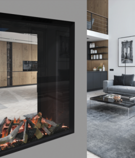 electric fire in modern apartment